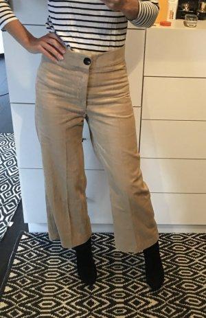 Zara Culotte Cord Kordhose Cordhose beige Creme Blogger Neu 36 S high waist