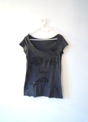 ZARA Customized Shirt, grafischer Print, grau & schwarz