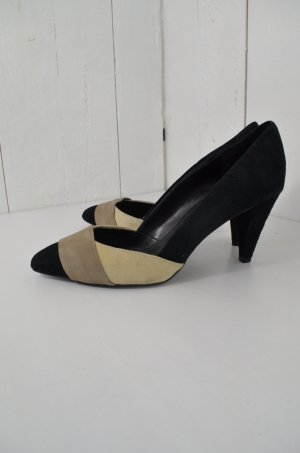 ZARA Damen High Heels Pumps Spitz Schwarz Taupe Beige Leder-Optik Gr. 39