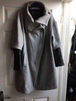Zara Manteau oversized gris-noir laine