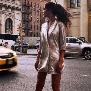 Zara Boyfriend blazer zilver