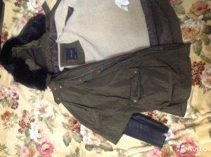 Zara Damen Parka Jacke Army Grün Khaki Cape Poncho M Combination Leather Sleeves