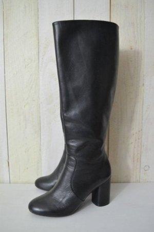 ZARA Damen Stiefel Boots Schwarz Absatz 7,5cm Reißverschluss Gr.36