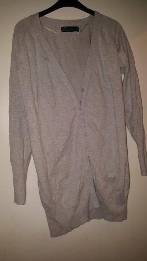 Zara Gilet long tricoté gris