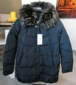 Zara Daunenjacke Mantel jeansblau mit Fellkragen Winter Gr. M / 38 Neu NP: 100€