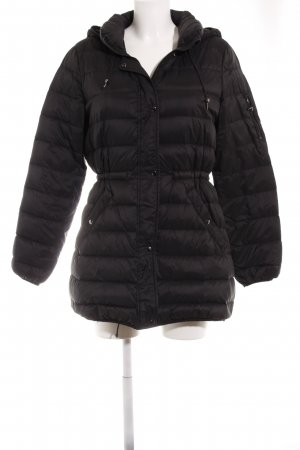 Zara Down Coat black quilting pattern casual look