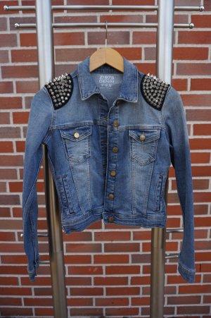 Zara Basic Veste en jean bleu acier