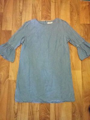 Zara Vestido vaquero azul celeste lyocell