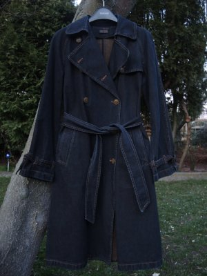 Zara Denim Jeans Trenchcoat Trench Coat Mantel