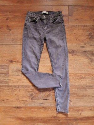Zara Denim Stretch Ankle Jeans grau anthrazit Gr. 38