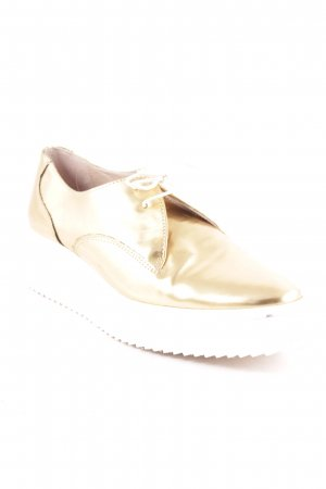 Zara Derby goldfarben Metallic-Optik