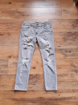 ZARA Destroyed Ripped Boyfriend Jeans grau Gr. 36