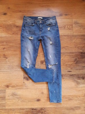 ZARA Destroyed Ripped Jeans blau Gr. 38