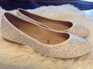 ZARA Diamanten Ballerina Schuhe beige