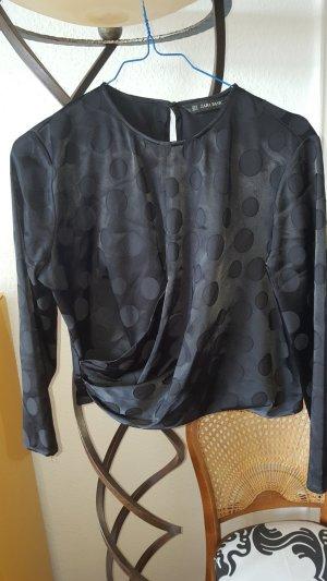 Zara Basic Blusa brillante negro Viscosa