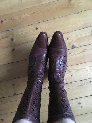 Zara dunkelbraune Stiefel mit Cutouts Echtleder Gr. 38