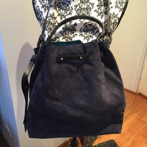 Zara Pouch Bag blue leather