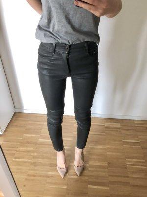 Zara Echtleder Hose 34 XS Schwarz Lederhose