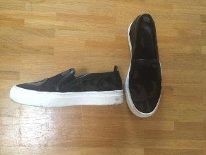 Zara Echtleder Kuhfell Camouflage Tarnmuster Boots Slip-Ons 36