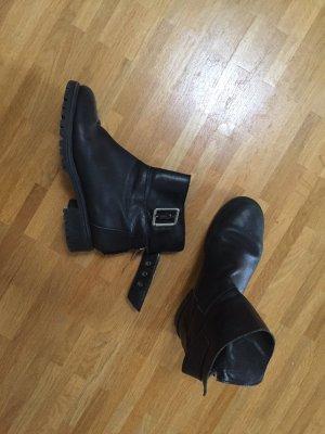 Zara Echtleder Leder Biker Stiefel Boots 36 37