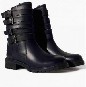 Zara Echtleder Leder Winter Boots Biker Stiefel 36 37