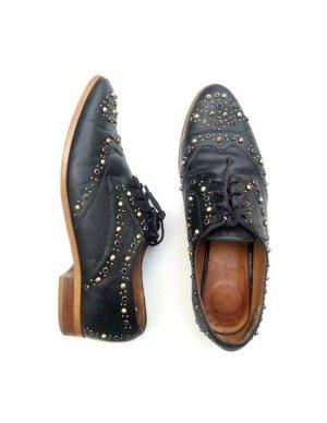 Zara Woman Chaussure Oxford noir-brun sable cuir