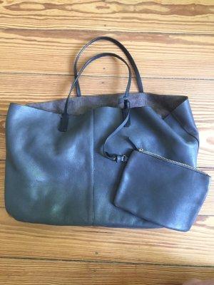 ZARA Echtleder-Shopper Shopper Bag Leder grau XL