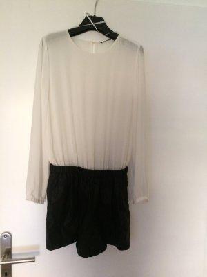 Zara Edler Jumpsuit mit Chiffonbluse und Lederhose Gr S/36 sexy wie neu