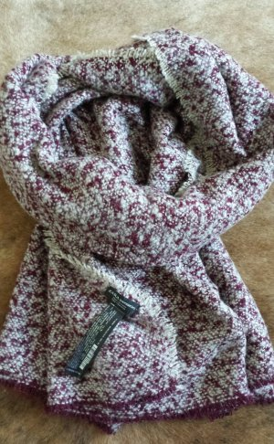 Zara Knitted Scarf bordeaux-white polyacrylic