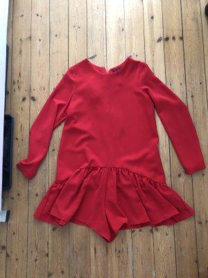 Zara Einteiler Kurz Rüschen Poplin rot Top Bluse