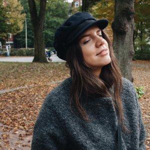 Zara Cappello di lana nero-blu scuro