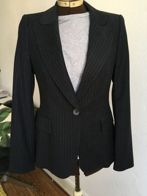 Zara Woman Blazer en laine bleu foncé-gris clair coton