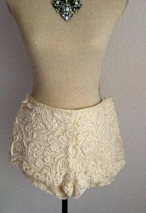 Zara Hot pants bianco-crema Tessuto misto