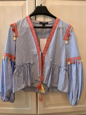 Zara Embroidered Jacket Neu Gr. M Boho Hippie Blogger Tassel Stickereien