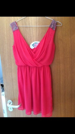Zara Chiffon jurk lichtrood-zalm