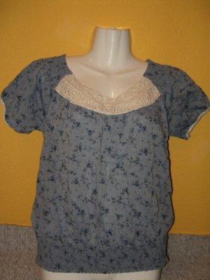 Zara, empire Tunika, Shirt, Blau mit Blumen, kurzarm Gr. M 38