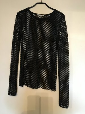Zara Basic Mesh Shirt black cotton