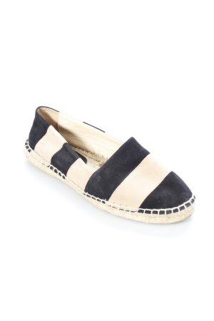 Zara Espadrilles-Sandalen schwarz-beige Streifenmuster Casual-Look