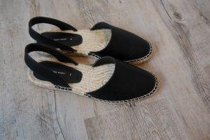 Zara Espadrilles Slingbacks flach schwarz Bastsohle Gr. 39