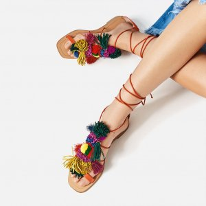 Zara Roman Sandals multicolored leather