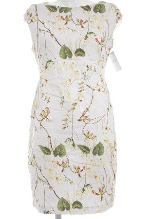 Zara Etuikleid creme florales Muster Casual-Look