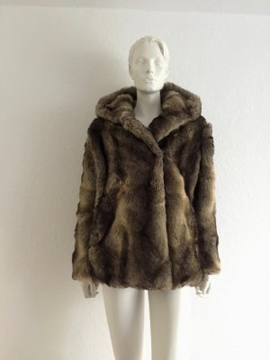ZARA Fake Fur Jacke Kapuze XS New