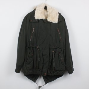 Zara Fake Fur Parka Gr. S khaki/weiß mit Kapuze (18/12/080)