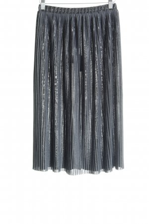 Zara Faltenrock schwarz-graublau Streifenmuster Glitzer-Optik