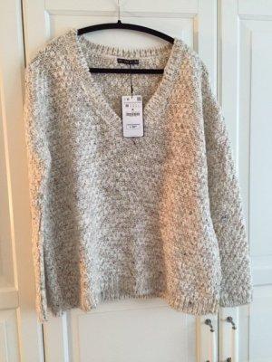 ZARA -Fancy yarn chunky pullover with V-neck