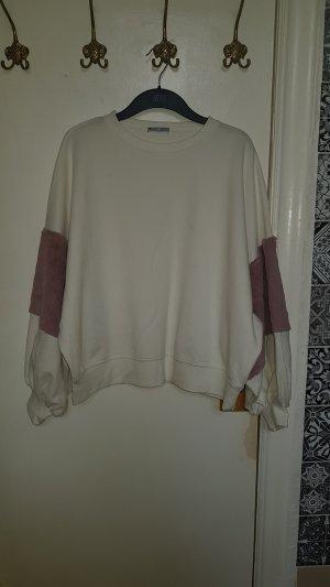 Zara Maglione girocollo bianco-rosa