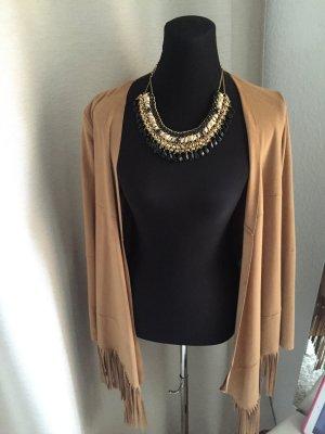 Zara FAUX SUEDE Camel w/rivets Sweater