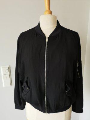 Zara Basic Bomber Jacket black-silver-colored