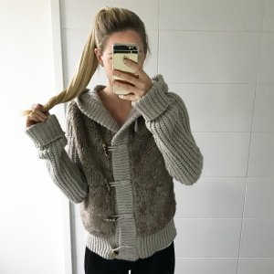 Zara Coarse Knitted Jacket grey brown-oatmeal