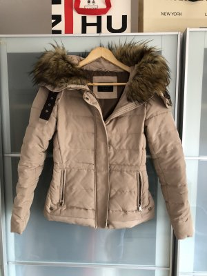 Zara Chaqueta de piel beige-marrón
